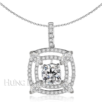 18K White Gold Diamond Pendant Setting P1291