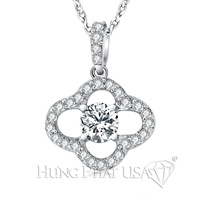 18K White Gold Diamond Pendant Setting P1007