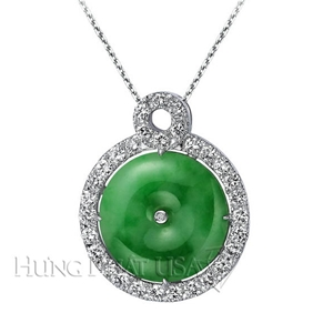 Jade and Diamond Pendant P1358