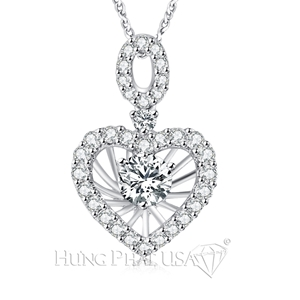 18K White Gold Diamond Pendant Setting P01697